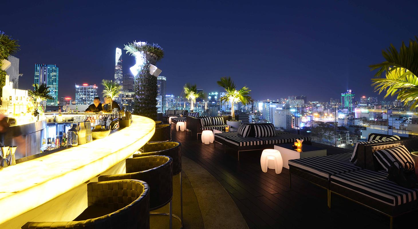 Rooftop bar in HCMC