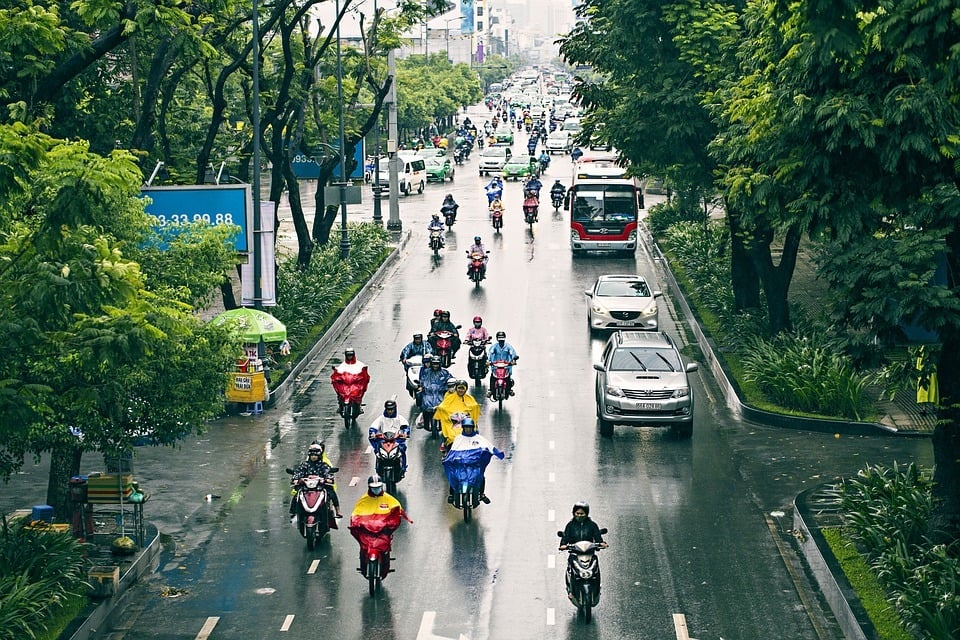 Saigon Traffic on a rainy day