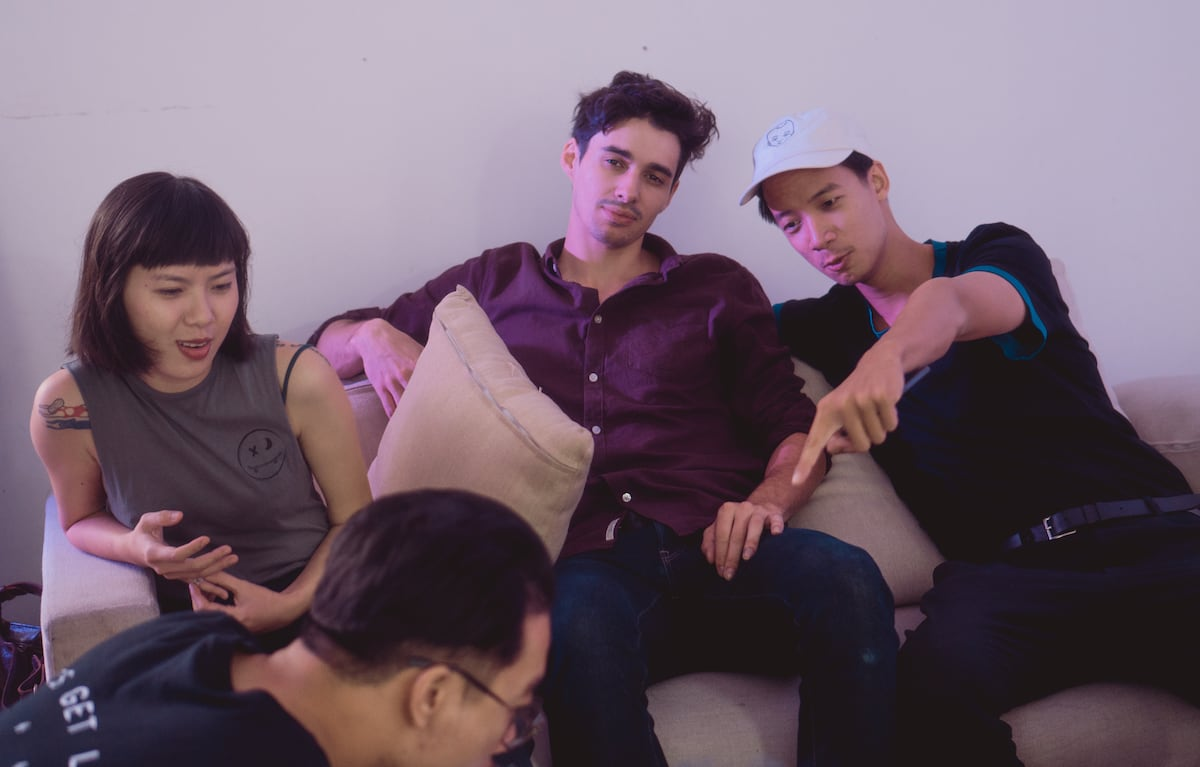 From left to right: Stylist Thuc, Robin Mahieux, Cako, and content chief Mike Pham (front)