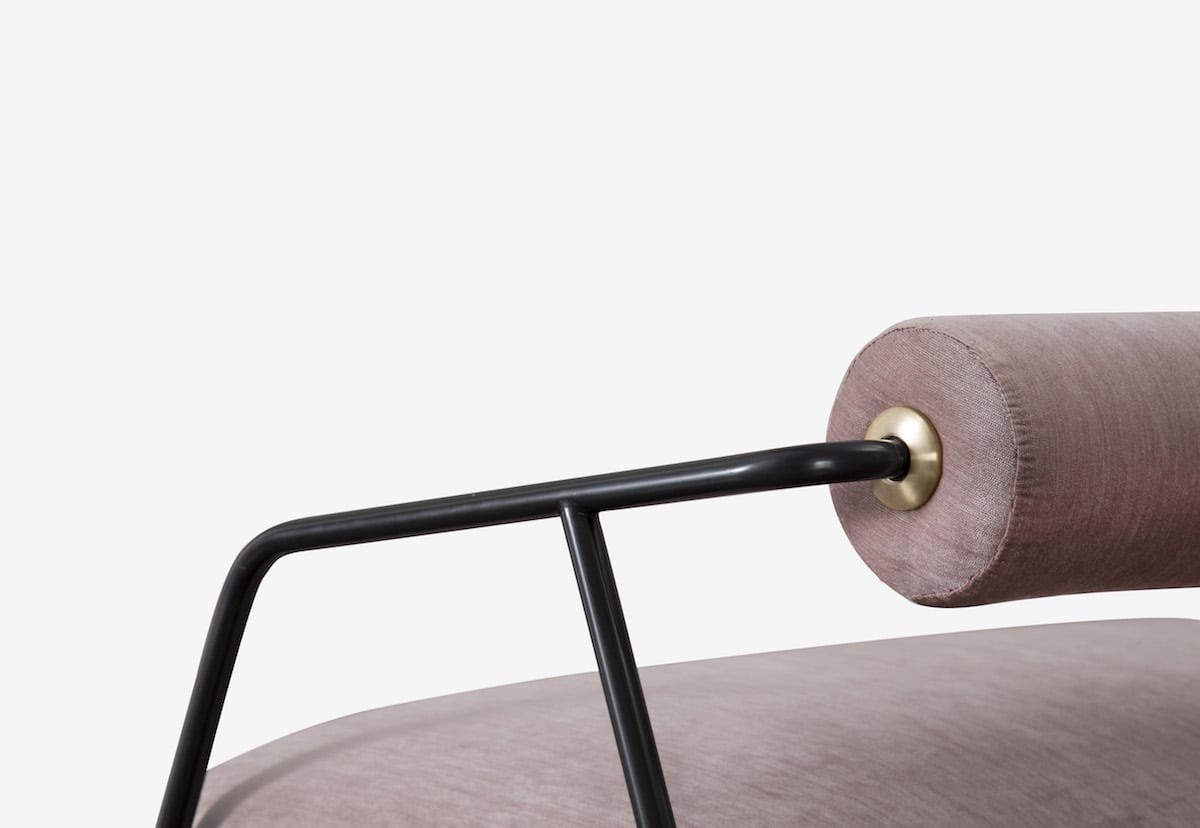 The cylinder feature of the Cyrus sofa is inspired by an ancient artifact that praised Persian king Cyrus the Great.