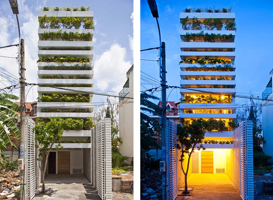 Day and night views of Stacking Green // Partnered with VTN Architects // Image courtesy of Hiroyuki Oki