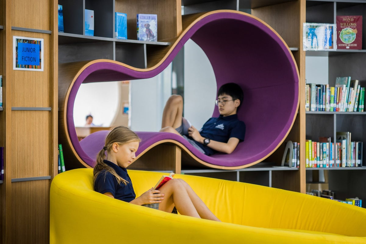 Students enjoying the space at the ISHCMC Primary Library