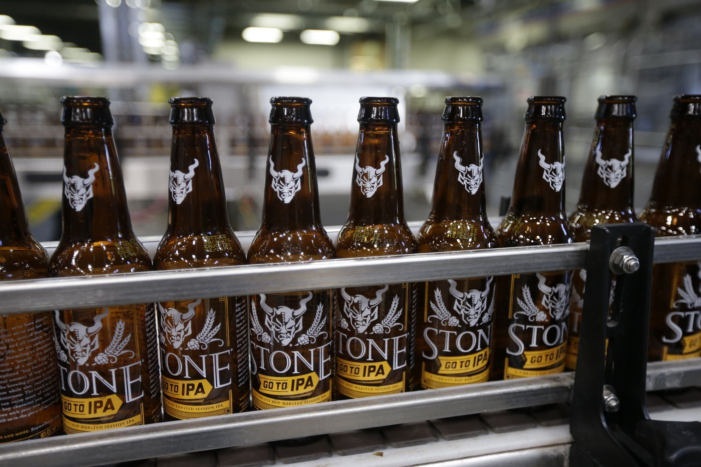 """Stone Brewing's """"Go To IPA"""" being bottled.   Credit: latimes.com"""