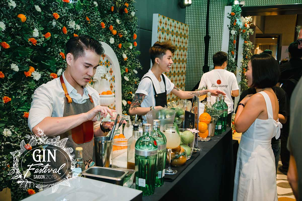 Gin Festival bartenders make their drinks for the competition.