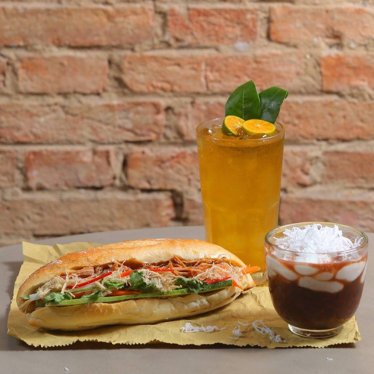 Banh mi sandwich, tea and coffee at Central Parc Banh Mi