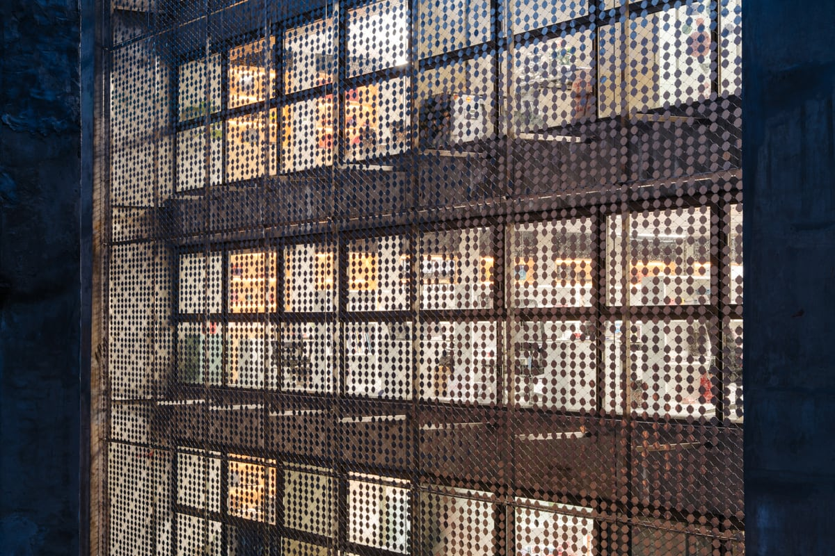 The Bridge building mesh facade