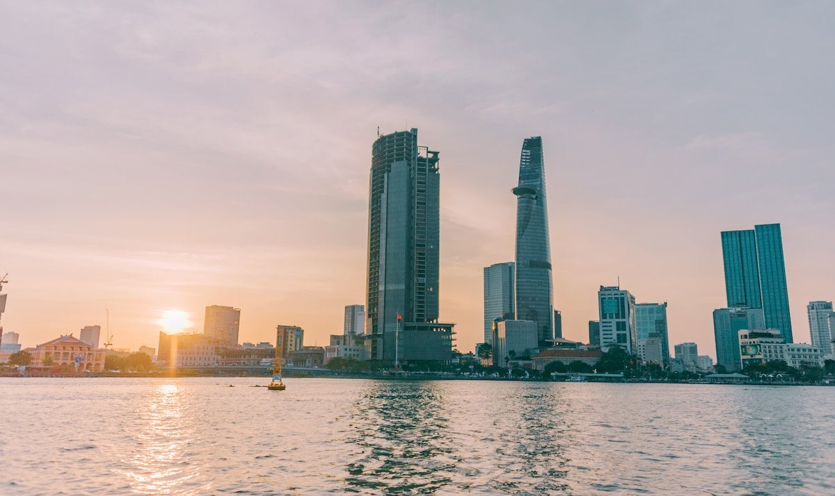 Saigon river city skyline